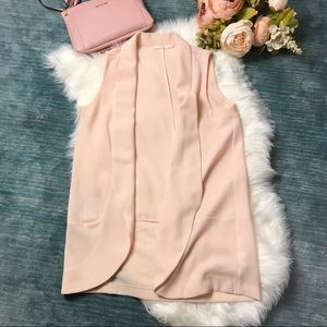 Lush Pink Textured Long Open Vest Cardigan Size M